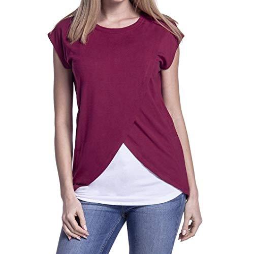 Fartido - Blusa de Doble Capa para Mujer, de Maternidad, Lactancia, Rojo Vino, L