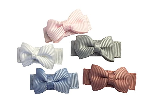 5 Tiny Grosgrain Tuxedo Hair Bows Headband Hair Band for Baby Girls Infants Toddlers Clips