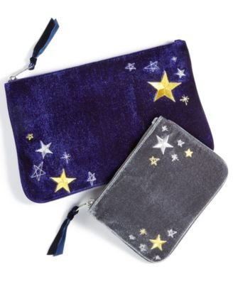 ce Embroidered Velvet Pouch Set, Navy & Gray ()