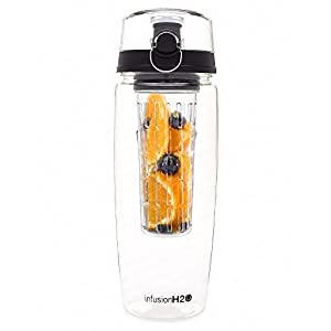 HOLIDAY SALE - #1 Fruit Infused Water Bottle - Large 32 Oz - Black - InfusionH2O (More Color Options)