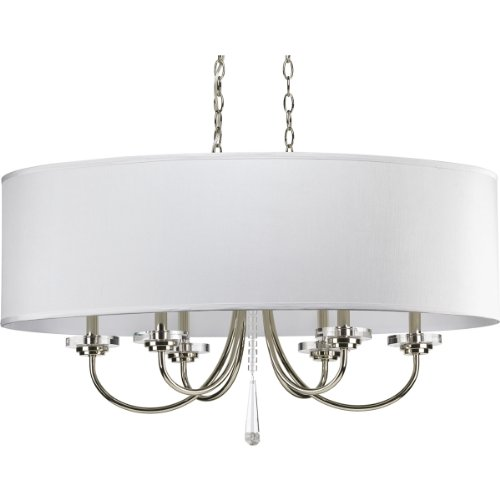 Progress Lighting P4431-104 6-Light Nisse Oval Chandelier, Polished Nickel
