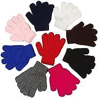 Children Warm Magic Gloves 12 Pairs Toddler Winter Gloves Baby Girls Knit Gloves(2 to 6 years old)