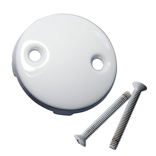 (Westbrass D329-50 Two Hole Tub Overflow Faceplate with Screws, Powder Coat White)