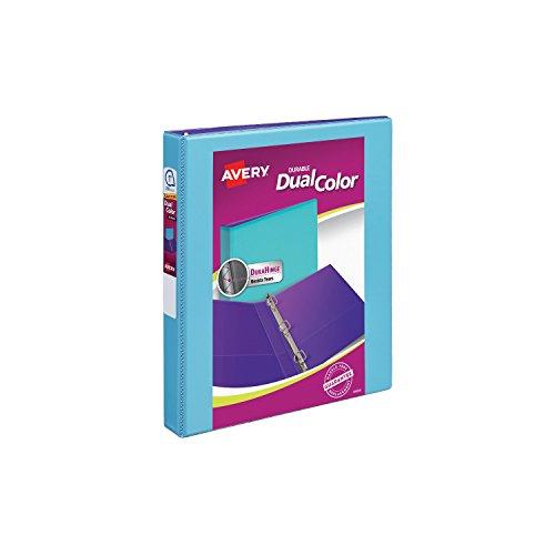 "Avery Dual Color Durable View Binder, 1"" Slant Rings, 250-Sheet Capacity, Aqua/Purple (17215)"