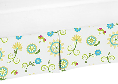 Turquoise and Lime Floral Crib Bed Skirt Dust Ruffle for Girls Layla Collection Baby Bedding Sets from Sweet Jojo Designs