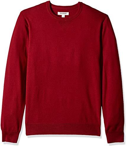 Goodthreads Men's Merino Wool Crewneck Sweater, red, X-Small