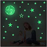 Creative Moon with Stars Halloween Decorations Wall Decals Glow in the Dark I Luminous Light Stickers for Halloween…