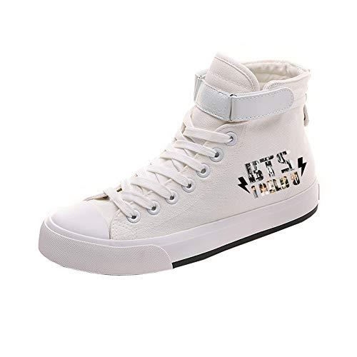 Cómodo Pareja White14 Ayuda Bts Popular Cordones Lona Zapatos Casuales Con De Personalidad Alta HH7xvq