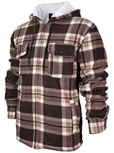 Men's Heavyweight Flannel Zip Up Fleece Lined Plaid Sherpa Hoodie Jacket (X-Large, MFJ130 - Brown) (Jacket Sherpa Hoodie)