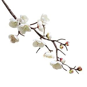 Vibola® 1pcs Artificial plum blossom 60cm floral arrangement Cherry Blossoms Home Decoration Wedding Fake Flowers arreglos florales artifical (Vase not included) (White) 17