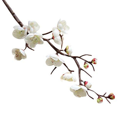Vibola® 1pcs Artificial plum blossom 60cm floral arrangement Cherry Blossoms Home Decoration Wedding Fake Flowers arreglos florales artifical (Vase not included) (White) -