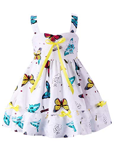 Girls Dress Floral Ruffle Lace Dress Kids Flutter Party Dress Toddler Baby Girl Dress Cold Shoulder Flutter Halter Dress Summer Girl Clothes Sleeveless Boho Sundress White Butterfly 02 1-2 Years ()