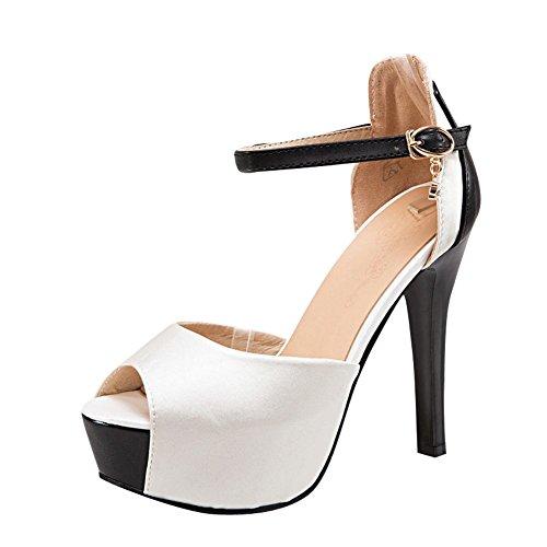 Carolbar Womens Peep-Toe Ankle-Strap Buckle Platform High Heel Dress Sandals White 8wHhq