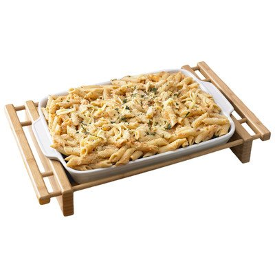 Creative Home 73458 Stoneware Grand Buffet Rectangular Pie Pan with Bamboo Cradle, Brown/White
