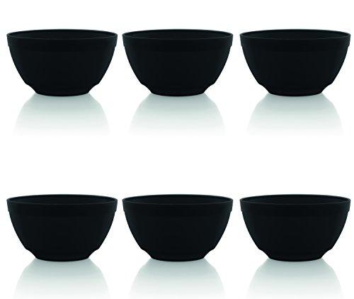 Black Rice Bowl - Ou Premium Design- Unbreakable Luna Bowls, Set of 6 (17 oz, Black)