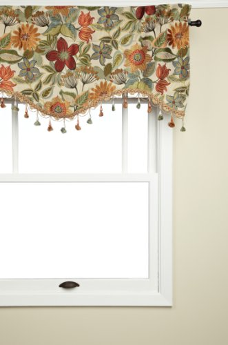 CROSCILL Home Mardi Gras 75-Inch by 18-Inch Scalloped Valance, Multi-Color