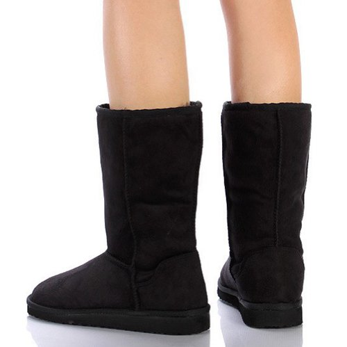 Women's Black US M Comfort Boot Soda Soong NAT Faux Mid Fur Premium Calf Flat Suede 8 dqS1TZwSA