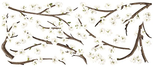 RoomMates White Blossom Branch Peel And Stick Giant Wall Decals with Flower Embellishments by RoomMates (Image #2)