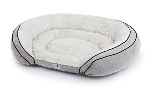 Petlinks Supreme Soother Gel Memory Foam Pet Bed, Large, Natural Plush/Gray Corduroy ()