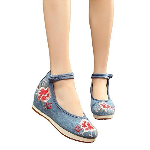 Avacostume Vrouwen Borduren Platform Casual Reizen Sandaal Schoenen Blauw
