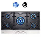 Gas Cooktop, Gasland chef Black Tempered Glass Built-in 5 Burner Gas Cooktops, Gas Stove Top, LPG Natural Gas Hob, ETL Safety Certified, Thermocouple Protection, Easy To Clean