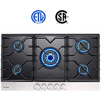 Gas Cooktop, Gasland chef GH90BF 36 Built-in Gas Stove Top, Tempered Glass LPG Natural Gas Cooktop, Gas Stove Top with 5 Sealed Burners, ...