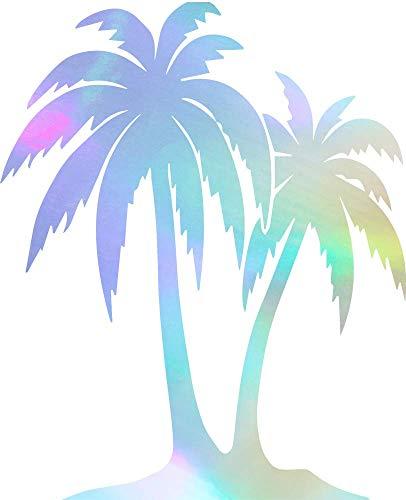 ANGDEST Palm Trees (Hologram) (Set of 2) Premium Waterproof Vinyl Decal Stickers for Laptop Phone Accessory Helmet Car Window Bumper Mug Tuber Cup Door Wall Decoration