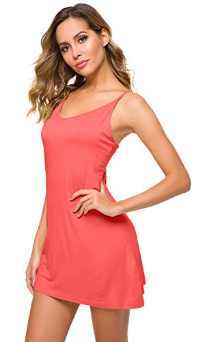 - WiWi Women's Bamboo Full Slip Under Adjustable Spaghetti Strap Cami Mini Dress Basic Camisole Slip Dress S-4XL, Peach, Medium