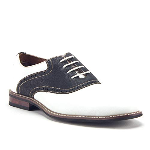 Ferro Aldo Men's 19268A Two Tone Saddle Oxfords, White Black, 7.5 (Sale Black Spectators White Mens)