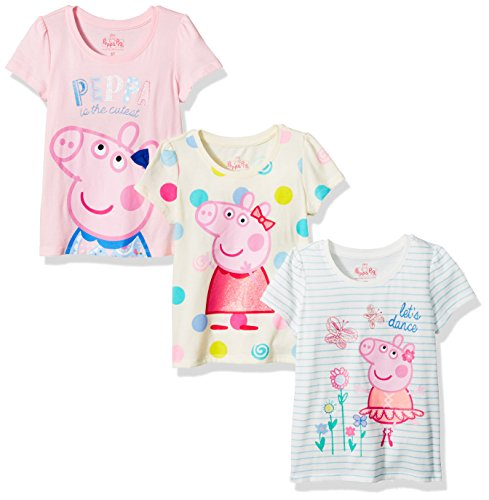 (Peppa Pig Toddler Girls Short-Sleeve T-Shirt (Pack of 3), Multi, 3T)