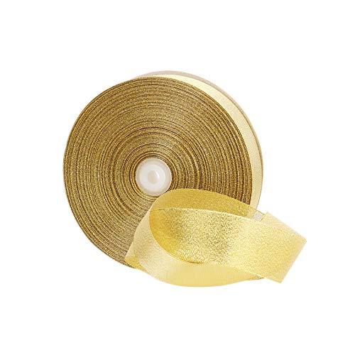 Molshine 100yd 1-inch Premium Quality Glitter Ribbon (golden)