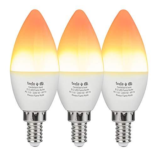 Tento LED Flame Bulb Candelabra Base 3 Pack E12 Fire Effect Flickering Lights 1.5 Watts 1800k Pack of 2 Decorative Lightbulbs for Halloween Christmas Lighting Tabletop Porch E12 Light -