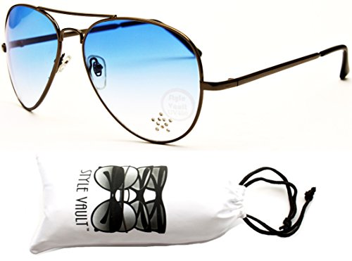 A67-vp Aviator Pilot Colored Lens Metal Sunglasses (B1316F Gunmetal-Blue, - 1970s Sunglasses