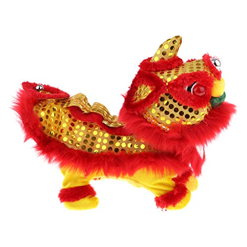 (CUTICATE Electric Singing Dancing Lion Plush Toy Traditional Chinese Festival Children Toy - red, as)