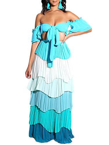 Adogirl Womens Sexy 2 Piece Outfit Crop Tube Top Layer Ruffle Maxi Dress Blue S ()