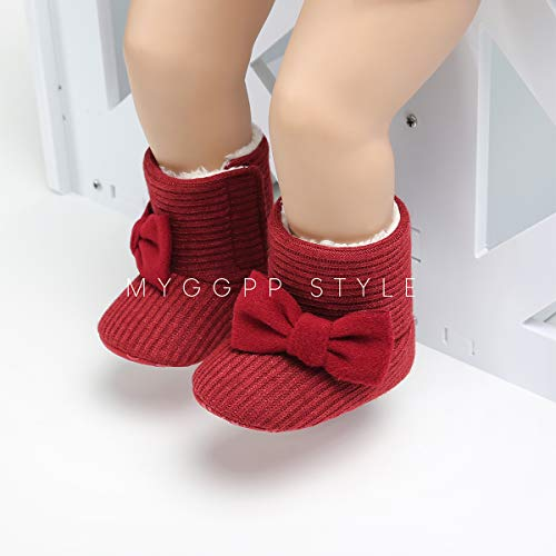 LIVEBOX Newborn Baby Cotton Knit Booties,Premium Soft Sole Bow Anti-Slip Warm Winter Infant Prewalker Toddler Snow Boots Crib Shoes for Girls Boys by LIVEBOX (Image #5)