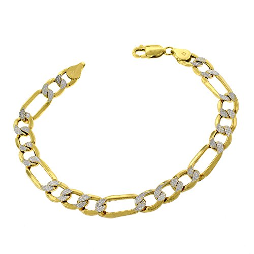 10k Yellow Gold 8mm Hollow Figaro Link Diamond Cut Two-Tone Pave Bracelet Chain 9