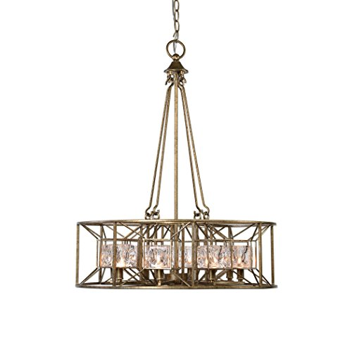 Cheap Mid Century Modern Faceted Round Cage Chandelier | Swedish Gold Silver Glass