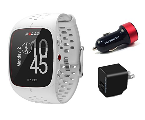 Polar M430 (White) Running Watch POWER Bundle | Includes Running Watch, PlayBetter USB Car/Wall Charging Adapters | Advanced GPS Running Watch/Activity Tracker with Optical Wrist-HR by PlayBetter
