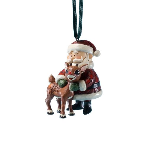 Jim Shore Rudolph the Red-Nosed Reindeer Santa Hugging Rudolph Hanging Ornament, 2.36