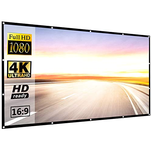 120 Inch 16:9 HD Projector Screen, P-JING Portable Video Screen Widescreen Foldable Anti-Crease Indoor Outdoor Projector Movies Screen for Home Theater Support Double Sided Projection -