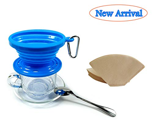 - Kuke Silicone Pour-Over Coffee Dripper Collapsible ,With 100 Paper Filters #2 ,Apply to Various Cups and Mugs Use for Travel, Camping, Office and Family, Reusable coffee Cone filter