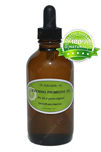 Evening Primrose Oil Rich Antioxidant to Rejuvenate and Moisturize the Skin and Hair 4 oz Amber Glass Bottle with Glass Dropper