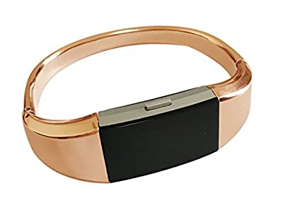 KingBaas Replacement Bands Compatible for Fitbit Charge 2, Classy Adjustable Replacement Accessory Metal Bands Compatible Fitbit Charge 2/Fitbit Charge 2 Bands (No Tracker)