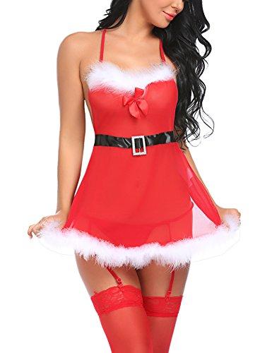 Sexy Santa Baby Costumes (Avidlove Women Christmas Lingerie Babydolls Red Santa Costume Garter Belts Small)