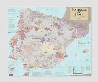 Wine Art - Wine Region Map of Portugal and Spain (Canvas) by VinMaps