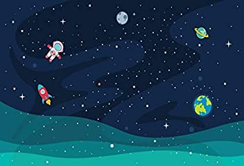 Space 8x10 FT Photo Backdrops,Abstract Cartoon Science Fiction Themed Image with Swirl Waves Asteroids Telescope Background for Baby Shower Birthday Wedding Bridal Shower Party Decoration Photo Studio