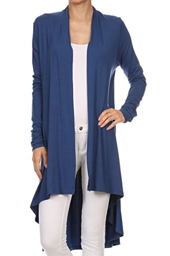 (ReneeC. Women's Natural Bamboo Solid Open Front Draped Cardigan - Made in USA (2X-Large, Blue))