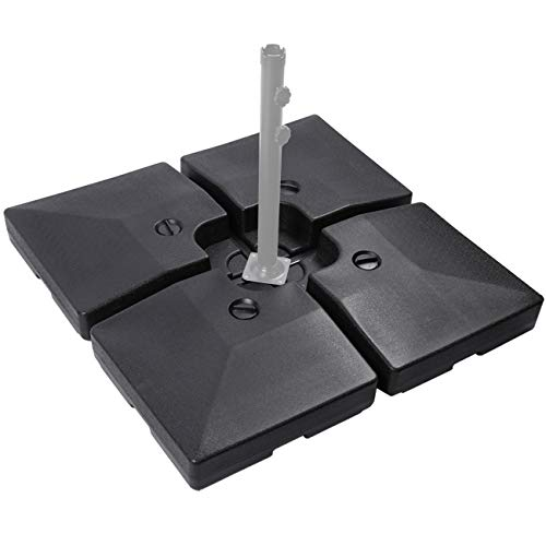 Sunnyglade 4pcs 200LB Square Patio Umbrella Base Water Filled Umbrella Stand Suitable for All Kinds of Cross Tiles Black