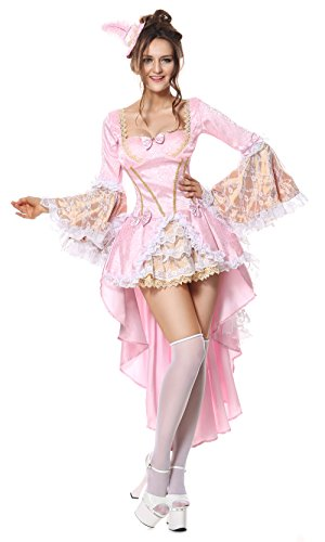 Marie Antoinette Halloween (Sibeawen Women's Deluxe Adult Vixen Of Versailles Plus Size Brocade Dress Costumes Pink Small/Medium)